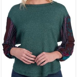 FOR THE REPUBLIC Balloon Sleeve Thermal Knit Top